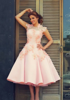 Cute Pink Lace Tea Length Wedding Dress with Flowers A-Line New Tulle Custom Made Prom Dresses