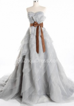 Cute Tiered Sweetheart Long Prom Dress Latest Sweep Train Lace-Up Popular Women Dresses with Bowknot