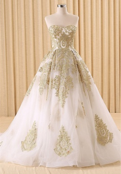 Vintage Swwetheart Gold Lace Ball Gown Wedding Dress White Tulle Latest Formal Long Bridal Gowns