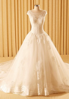 Sheath Lace Church Ball Gown Wedding Dress with Chapel Train Tiered New Bridal Dress