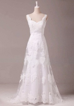 Vintage A-Line White Lace Long Wedding Dress Popular Applique Floor Length Plus Size Bridal Gowns