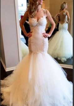 Sexy Mermaid Tulle Spaghetti Strap Wedding Dresses White Floor Length Trumpet Lace Bridal Gowns