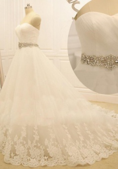 Elegant Crystal White Lace Formal Bridal Gowns Popular Sweep Train Plus Size Wedding Dresses