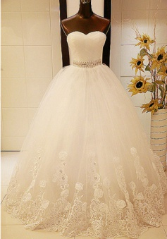 White Lace Sweetheart Crystal Long Wedding Dresses Ball Gown Lace-Up Tulle Fitted Bridal Gowns