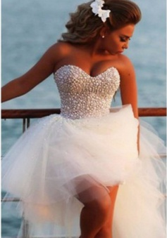 Crystal White Sweetheart Tulle Beach Wedding Dress Cute Ball Gown Latest Summer Bridal Gowns with Beadings