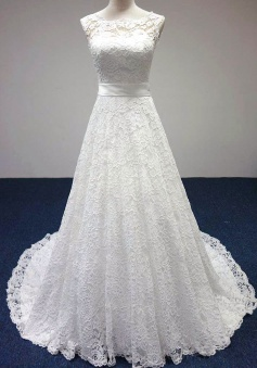 Cheap Simple White Lace Formal Bridal Gowns A-Line Sweep Train lace-up Bowknot Wedding Dresses