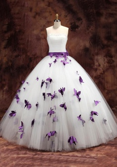 Elegant White Strapless Ball Gown Long Wedding Dresses with Purple Butterfly Unique Beading Sash Bowknot Bridal Gowns BA