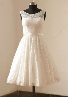 Cute White Short Lace Beach Wedding Dresses Cheap Knee Length Zipper Popular Summer Prom Dress for Women