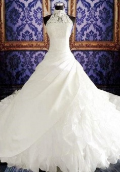 High Neck White Sheath Halter Organza Wedding Dresses Court Train Fitted Unique Plus Size Bridal Gowns with Beadings