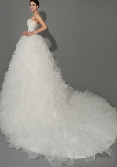Elegant Sweetheart Tiered Organza Long Wedding Dresses with Beadings Court Train Designer Lace-up Formal Bridal Gowns