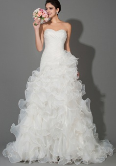 White Elegant Tiered Sweetheart Organza Wedding Dresses Ball Gown Lace-up Court Train Ruffles Bridal Gowns for Women
