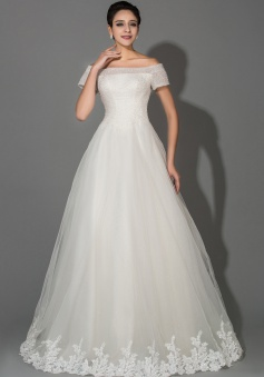 Off Shoulder Short Sleeve Ball Gown Princess Wedding Dresses with Beadings Crystal Elegant Tulle Wedding Gowns