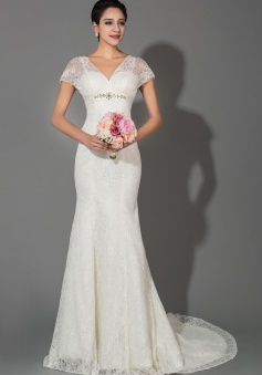 White Mermaid V-Neck Short Sleeve Empire Bridal Gowns Lace Sexy Lace-up Fashionable Wedding Dress with Big Bowknot