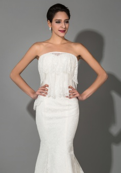 Sexy Mermaid White Lace Strapless Wedding Dresses Affordable Court Train Designer Lace-up Trumpet Dresses for Wedding