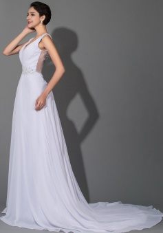 Beautiful White Chiffon V-Neck Long Wedding Dresses Sheer Back Court Train Crystal Bridal Gowns with Beads