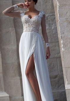 White Lace Sheer Long Sleeve Wedding Dresses Side Slit Chiffon Evening Dresses