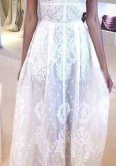 Chiffon White V-Neck Bridal Gowns Spaghetti Straps Lace Zipper Cute Long Prom Dresses