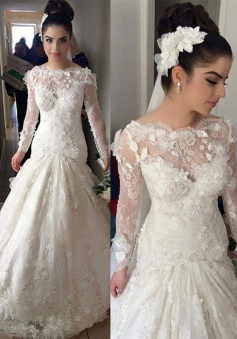 Mermaid Long Sleeve 2018 Wedding Dresses with Train Gorgeous Lace Appliques Bridal Gowns BO8376
