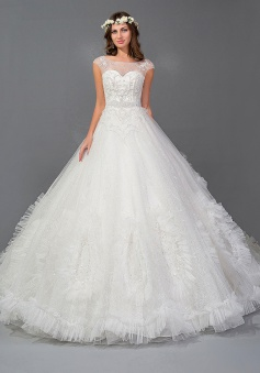 Organza Crystal Sexy 2018 Ball Gowns Charming Lace-Up Fashional Wedding Dresses