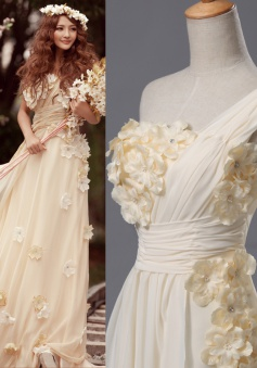 One Shoulder Beautiful Flower Wedding Dresses Tiered Zipper Elegant 2018 Bridal Gowns
