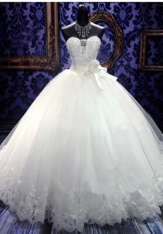 White Sweetheart Charming Organza Wedding Gowns Ball Gown Sleeveless Tiered Sash 2018 Bridal Dresses