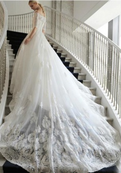 Lace Cathedral Train Off-the-Shoulder Wedding Dresses Elbow Sleeves Charming White Bridal Gowns