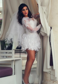 Mini Long Sleeve Lace Wedding Dresses 2018 Scoop A-Line Sexy Bridal Gowns