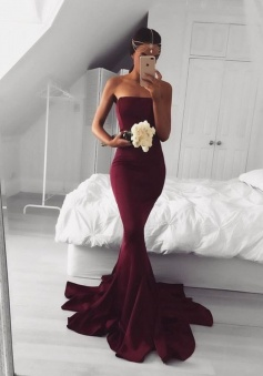 Mermaid Burgundy/Maroon Sexy Prom Dress Chiffon Formal Dress