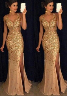Sexy V-neck Sequin Court Train Sleeveless Beading Prom Dresses
