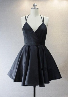 A Live V Neck Short Black Prom/Homecoming Dress