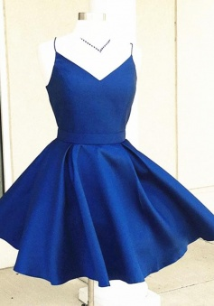 V Neck Short Blue/Burgundy Short Prom/Homecoming Dress