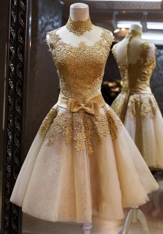 Gorgeous Sparkly High Neck Gold Lace Prom/Homecoming Dresses With Bow Belt