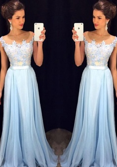 Applique A-Line Sleeveless Sheer Neck Chiffon Prom/Evening Dresses