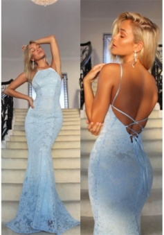 Sexy Halter Mermaid Backless Lace Long Prom/Evening Dress