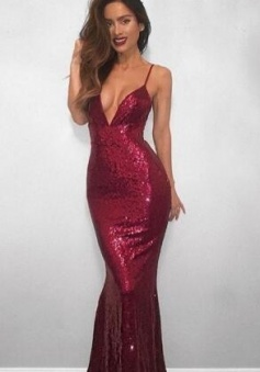 Spaghetti Strap Sexy Formal Dress Sequined V-neck Mermaid Prom Dress