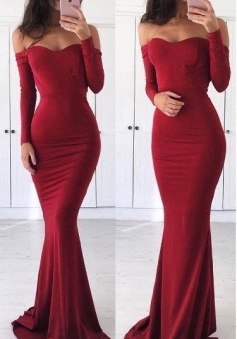 Off Shoulder Long Sleeves Sexy Mermaid Red Prom Dress Graduation Dress