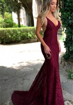 Spaghetti Strap Sexy Backless Lace Prom Dresses V Neck Long Evening Dress