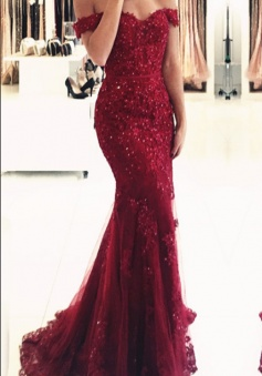 Glamorous Off-the-shoulder Appliques Mermaid Lace Prom Dress Red Evening Dress