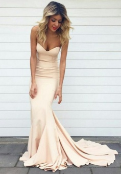 Simple Sweetheart Neck Nude Color Mermaid Prom Dress Long Evening Dress