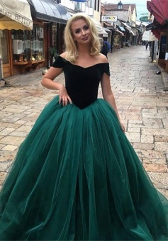 Glamorous Off-The-Shoulder Tulle Ball Gown Prom Dress Long Party Dress