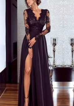 Floor Length Illusion Backless Sleeves Lace Sexy Black Prom Dresses
