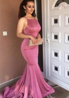 Spaghetti Straps Mermaid Prom Dresses Sexy Evening Dresses
