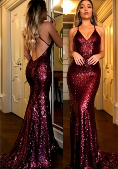 Sexy Halter V-Neck Open Back Sequined Burgundy Prom Dresses Long Evening Gowns