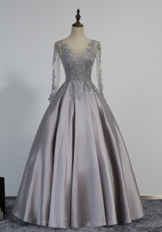 Appliques Vintage Long Sleeves V-Neck Beading Sexy Prom/Evening Dress