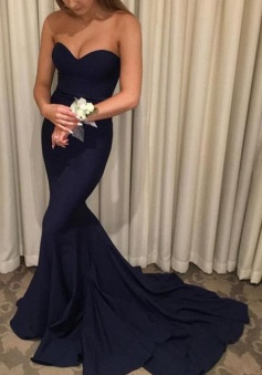 Off Shoulder Navy Blue Mermaid Sweep Train Chiffon Prom Dress
