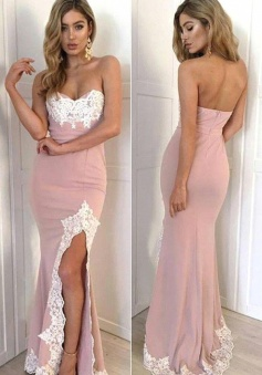 Gorgeous Split Appliques Sweetheart Mermaid  2018 Long Prom/Evening Dress