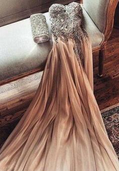 Sexy A-line Sweatheart Beading Prom Dress Long Evening Dresses