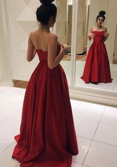 Simple Elegant Red Satin Long Prom Dress