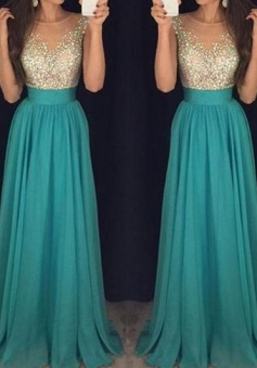 Sexy Long Chiffon Beading Teal Prom Dress Chiffon Evening Dress
