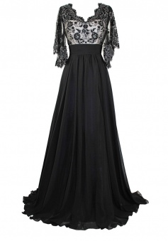 Empire Half Sleeve A-line V-neck Chiffon Prom Dress Long Mother Dress